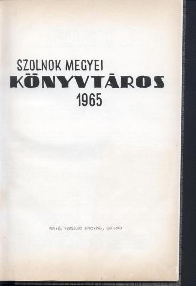 Szolnok megyei könyvtáros, 1965